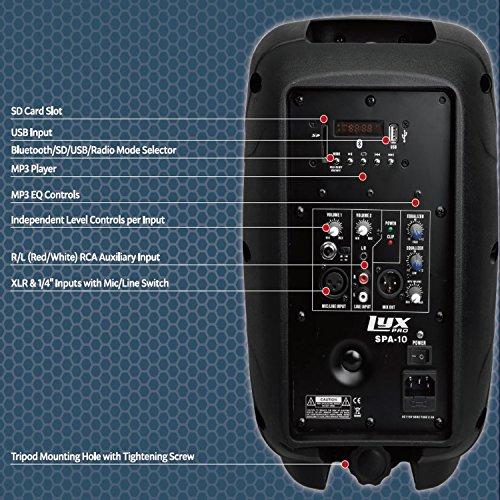 Lyxpro Spa 10 10 Compact Portable Pa System 110 Watt Rms
