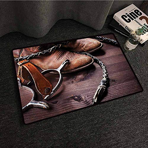 Polyester Non-Slip Doormat Rugs Colorful Western,Authentic Old Leather Boots and Spurs Rustic Rodeo Equipment USA Style Art Picture Print,Brown,W35 xL59 Rugs for Kitchen Floor