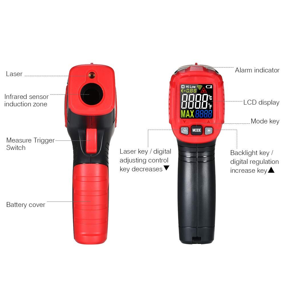 HABOTEST KKmoon HABOTESE Termómetro infrarrojo infrarrojo sin contacto Probador digital de temperatura 12: 1 Pirómetro Pantalla LCD a color con luz de fondo ...