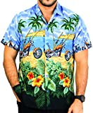 LA LEELA Likre Aloha Dress Men's Shirt Royal Blue 336 Large | Chest 44