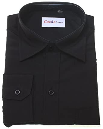c9052ae7fba Boys Black Shirt - Boys Formal Black Shirt  Amazon.co.uk  Clothing