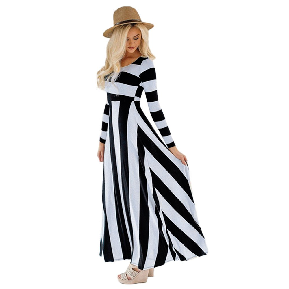 Birdfly Fall Cute Countryside Style Vintage Black-White Striped Patchwork Slim fit High Waist Maxi Dress in Apricot for Women Holiday (XL, Black) by Birdfly