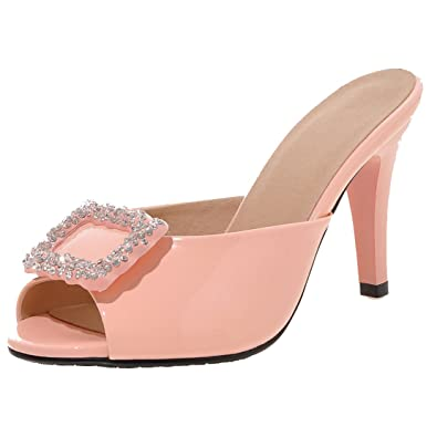AIYOUMEI Damen Lack Peep Toe Stiletto High Heels Pantoletten mit Strass Bequem Modern Sandalen Schuhe