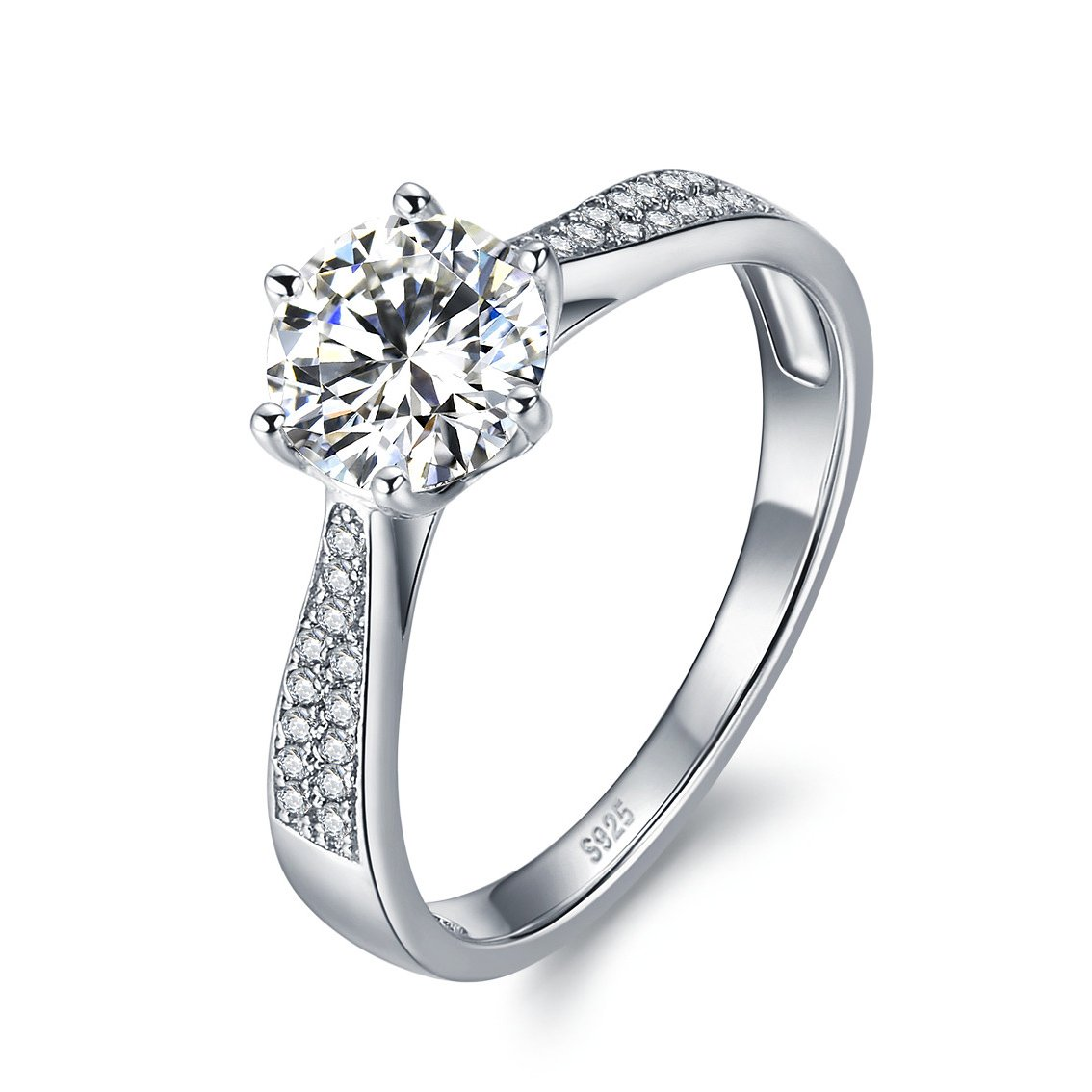 e3ddea8fb3c1e Solid 925 Sterling Silver Rings for Women Wedding or Engagement Jewellery  1ct Diamond Fire Cubic Zirconia