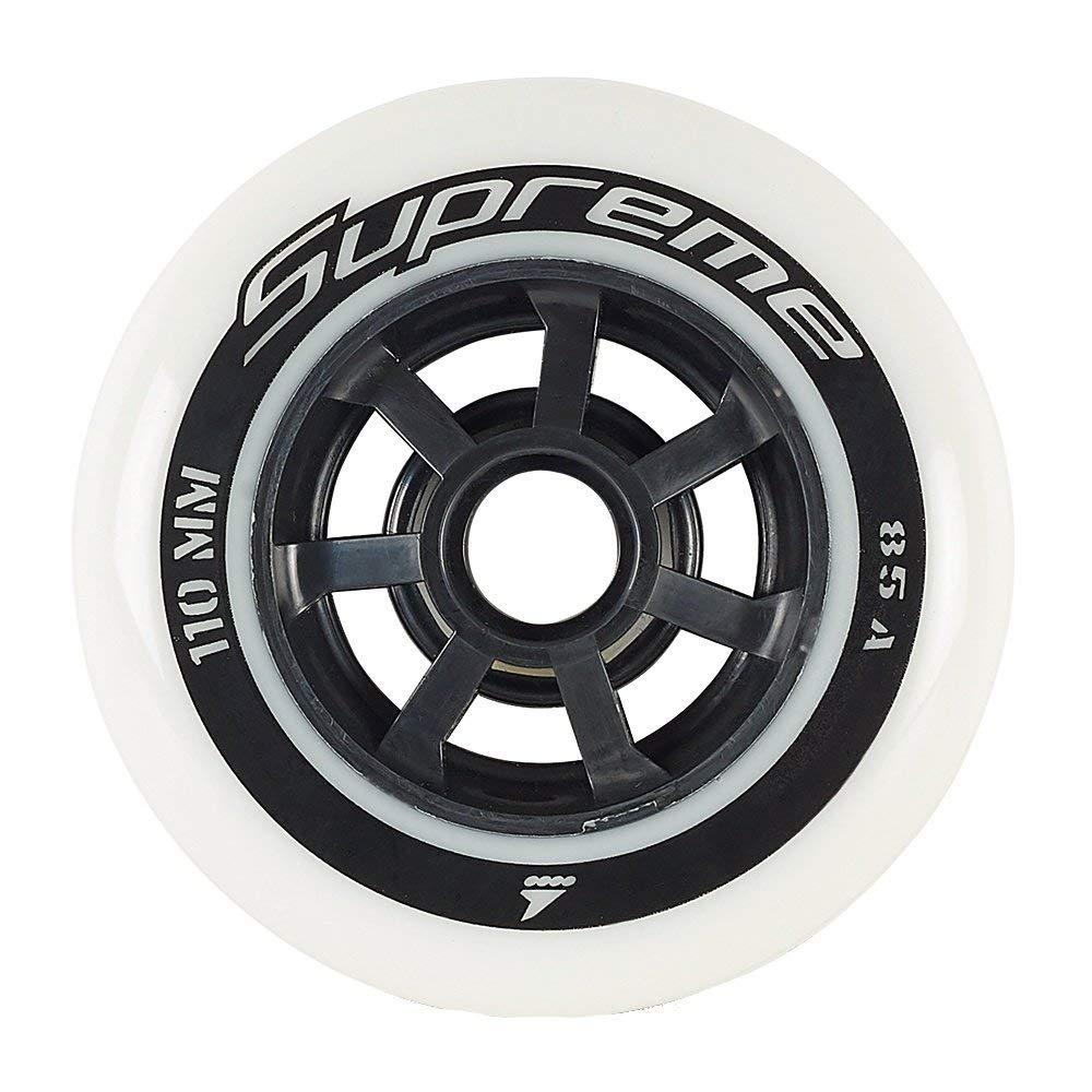 Rollerblade Supreme 110mm 85A Wheels, 8 Pack, White, US Unisex ST
