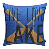 TRENDIN 18'' X 18'' Vintage Blue Live Love Lake Oar Linen Cotton Cushion Cover Pillow Case (PL047TR)