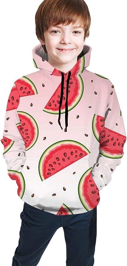 Youth Hoodie Sweatshirt Fruit Flamingo Realistic 3D Digital Printed Pullover Tops for Boys Girls 7-20 Years