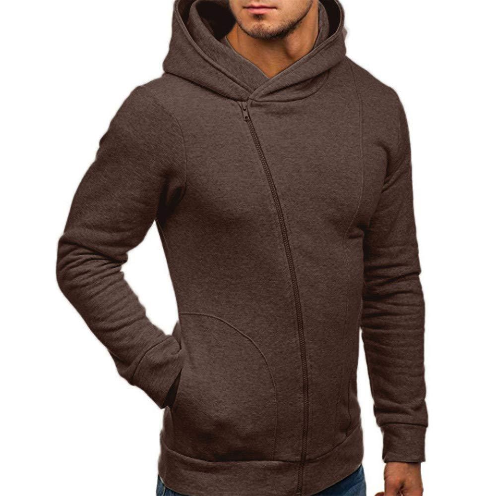 Mens Hoodie, Casual Side Zipper Hooded Sweatshirts Cowl Neck Sport Sweater Coat with Pocket Zulmaliu Y-129