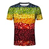Xlala Mens Fashion Tops Fruit 3D Printing Gradient Tees Round Neck Simple Classic Shirt Slim Fit Fitness Short Sleeve Hippie Hip Hop T Shirt (Multicolor, S)
