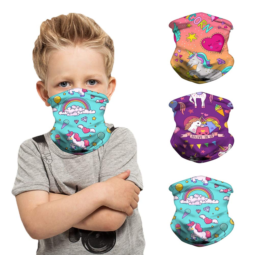 3 Pcs Kids Neck Gaiter Bandanas Face Cover Balaclava Breathable Face Scarf