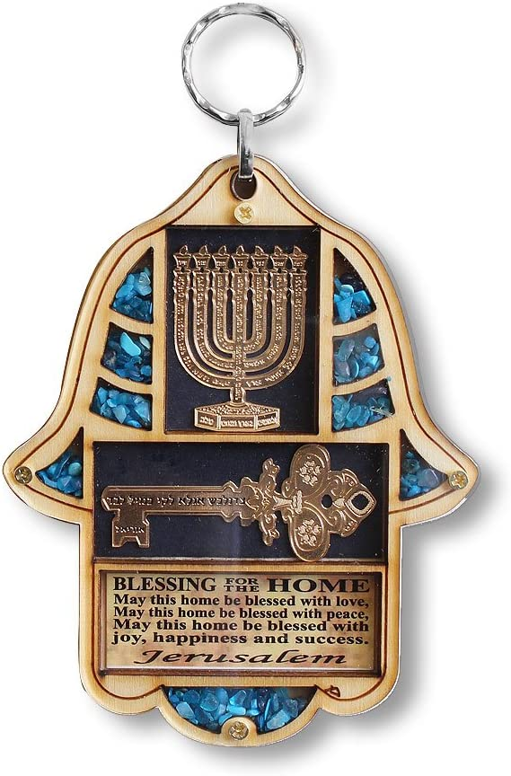 My Daily Styles Jewish Wooden Hamsa Menorah Blessing for Home - Good Luck Wall Decor with Simulated Turquoise