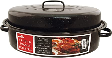 Euro-Ware 1512 Oval Carbon Steel Non-Stick Enamel Roaster with Cover, Large 15-18 lb, Black