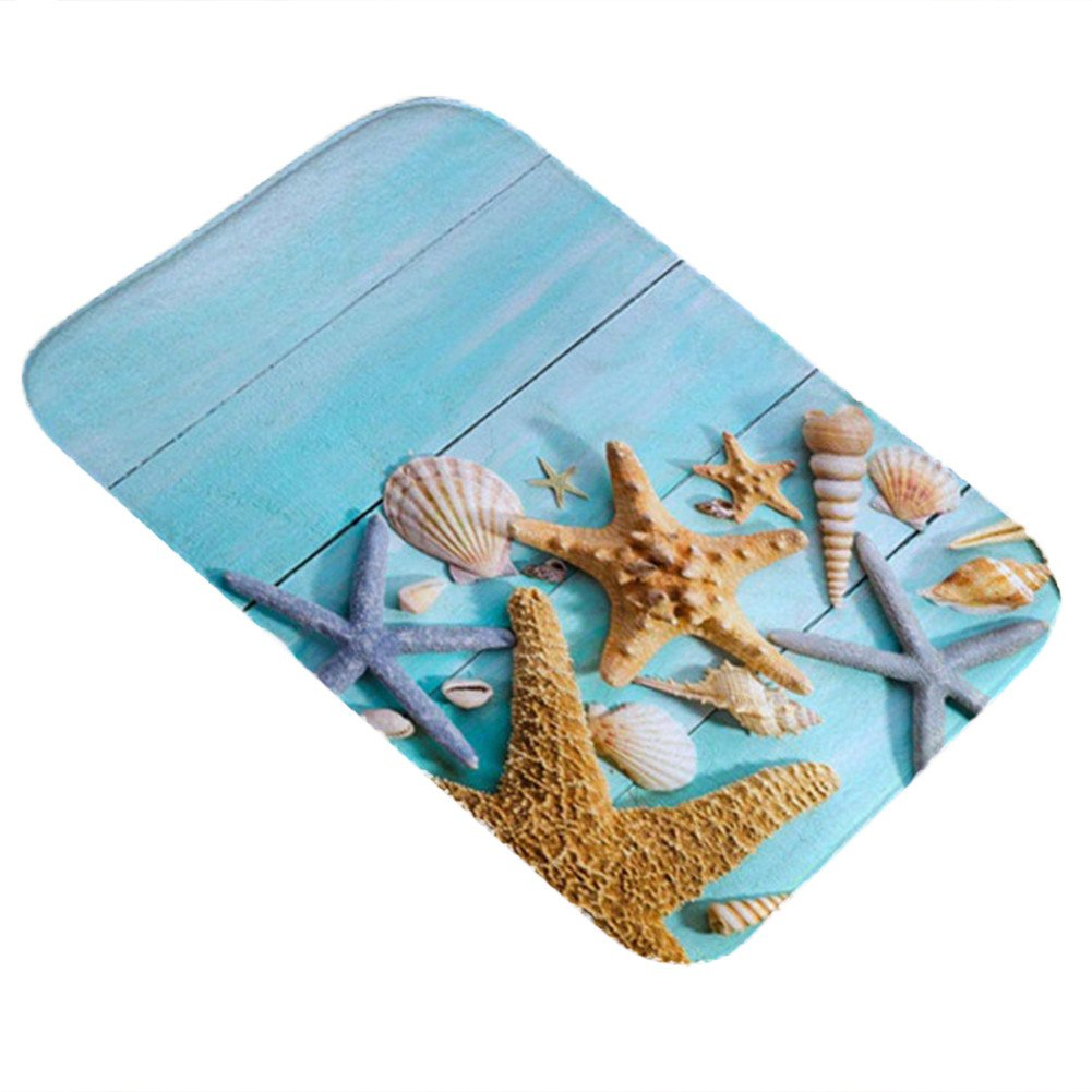 bjlongyi 40 x 60cm Sea Shell Home Bathroom Kitchen Anti-Slip Floor Mat Bedroom Carpet - 1
