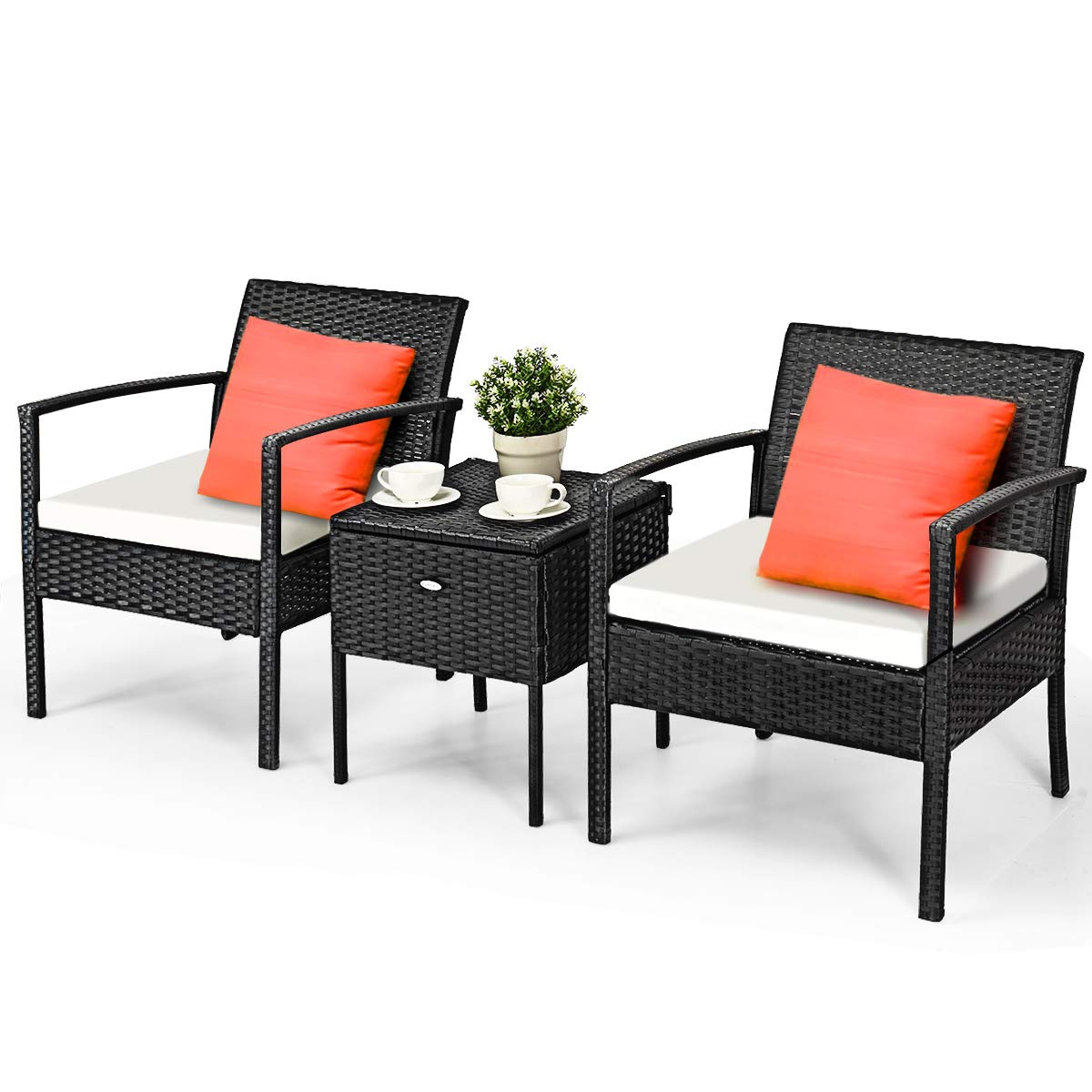 Tangkula 3 Piece Patio Conversation Set, Outdoor Wicker Rattan Conversation Set with Storage Coffee Table, Chairs Thick Cushions, Backyard Porch Poolside Lawn Modern Outdoor Furniture Set, Black
