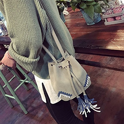 Crossbody Bucket Goodbag Bag Solid Tassel Boutique Bag Suede Gray Color Women Drawstring XX4gqz