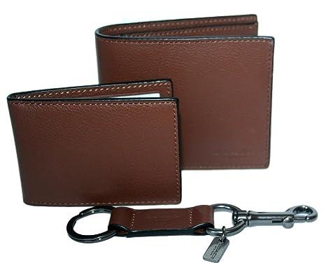 a0f31ae64bf1 Coach Mens 3 in 1 Sport Calf Leather Billfold ID Wallet Key Fob Gift Set BRN
