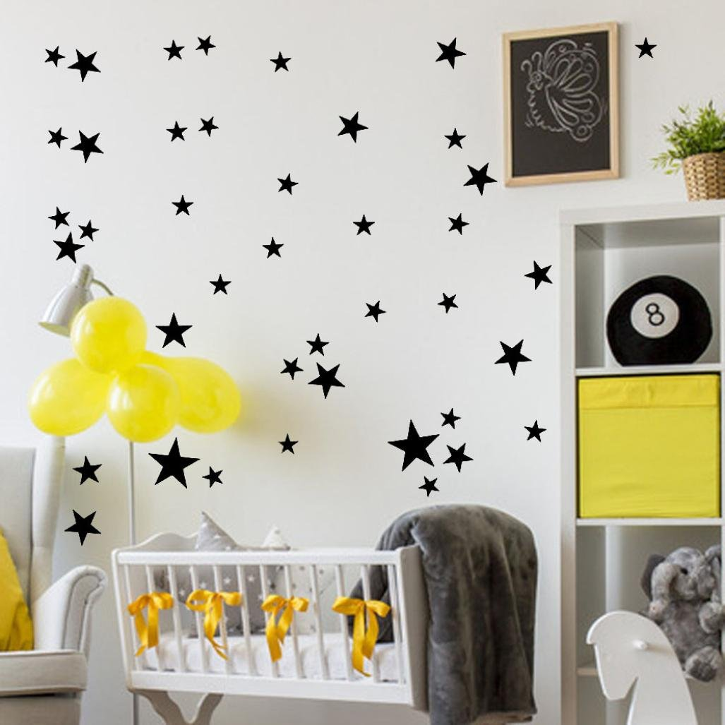 Highpot 34Pcs Stars Assorted Self Adhesive Wall Stickers Removable Art Vinyl Mural Home Room Decor Kids Rooms Wall Stickers (Black)