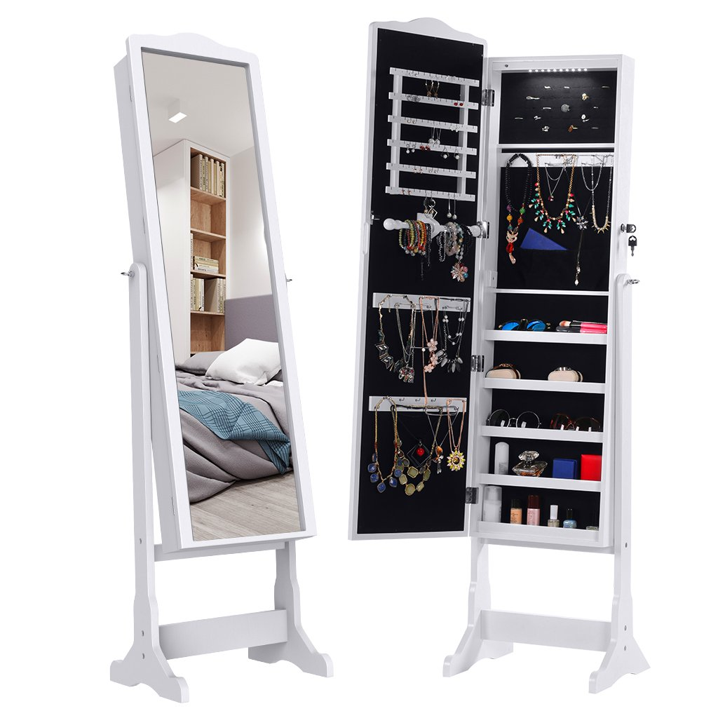LANGRIA 10 LEDs Lockable Jewelry Cabinet Full-Length Mirrored Jewelry Armoire Free Standing, 5 Shelves, Organizer for Rings, Earrings, Bracelets, Broaches, Cosmetics, White by LANGRIA (Image #1)