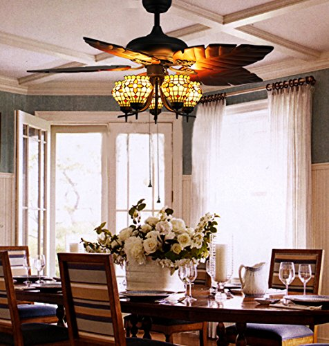 Makenier-Vintage-Tiffany-Style-Stained-Glass-5-light-Flowers-Uplight-Ceiling-Fan-Light-Kit-with-Banana-Leaf-Shaped-Blades