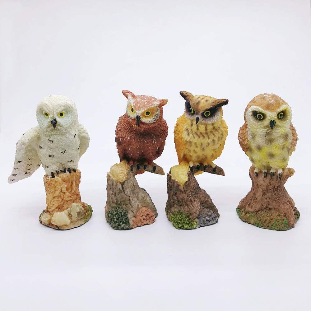 "Gishima Set of 4 Owl Figurines Home Decor Mini Fairy Garden Owl Statues,3.6"" H"