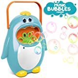 AMPLE TOY Automatic Bubble Machine with Bubble Solution for Kids Toddlers, Penguin Bubble Blower Maker for Party, Wedding, Outdoor Indoor Games, Battery Operated (Not Included)(Blue (Blue)