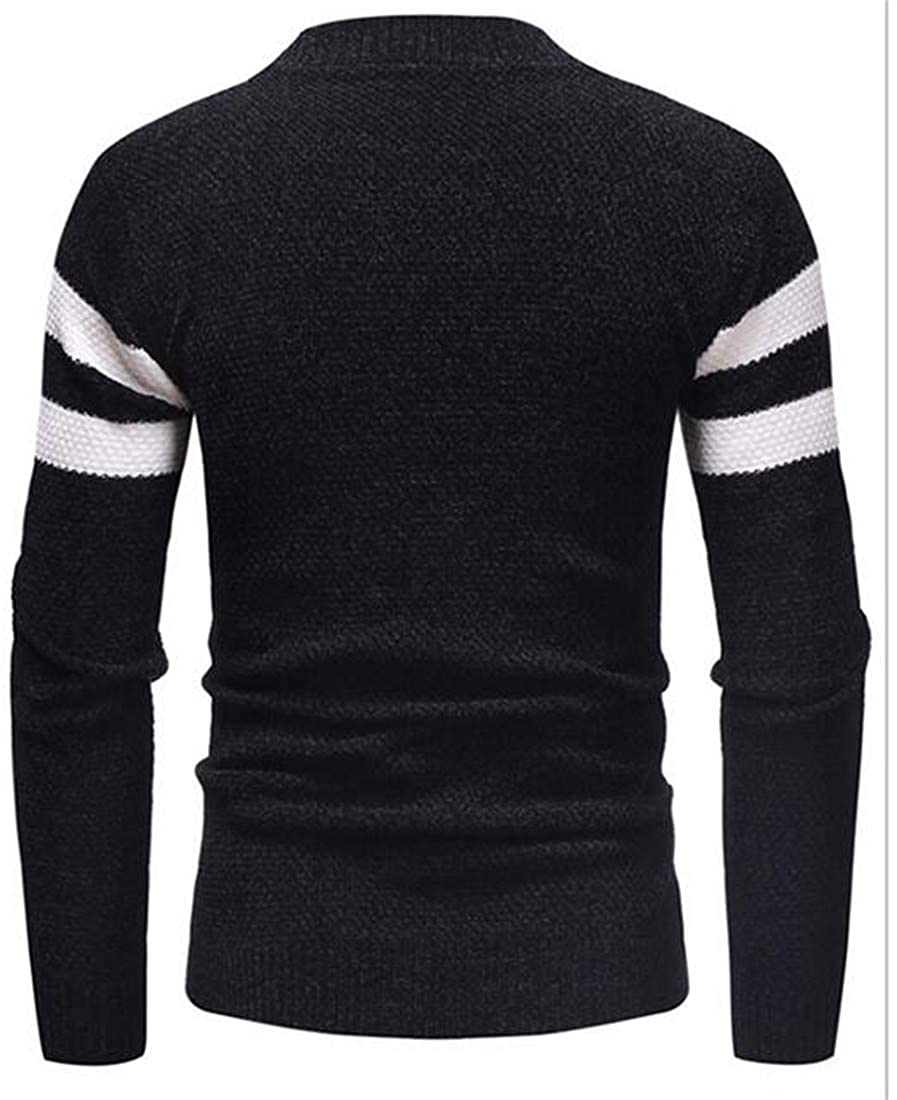 XiaoTianXinMen XTX Mens Stretchy Striped Knits O-Neck Pullover Jumper Sweaters