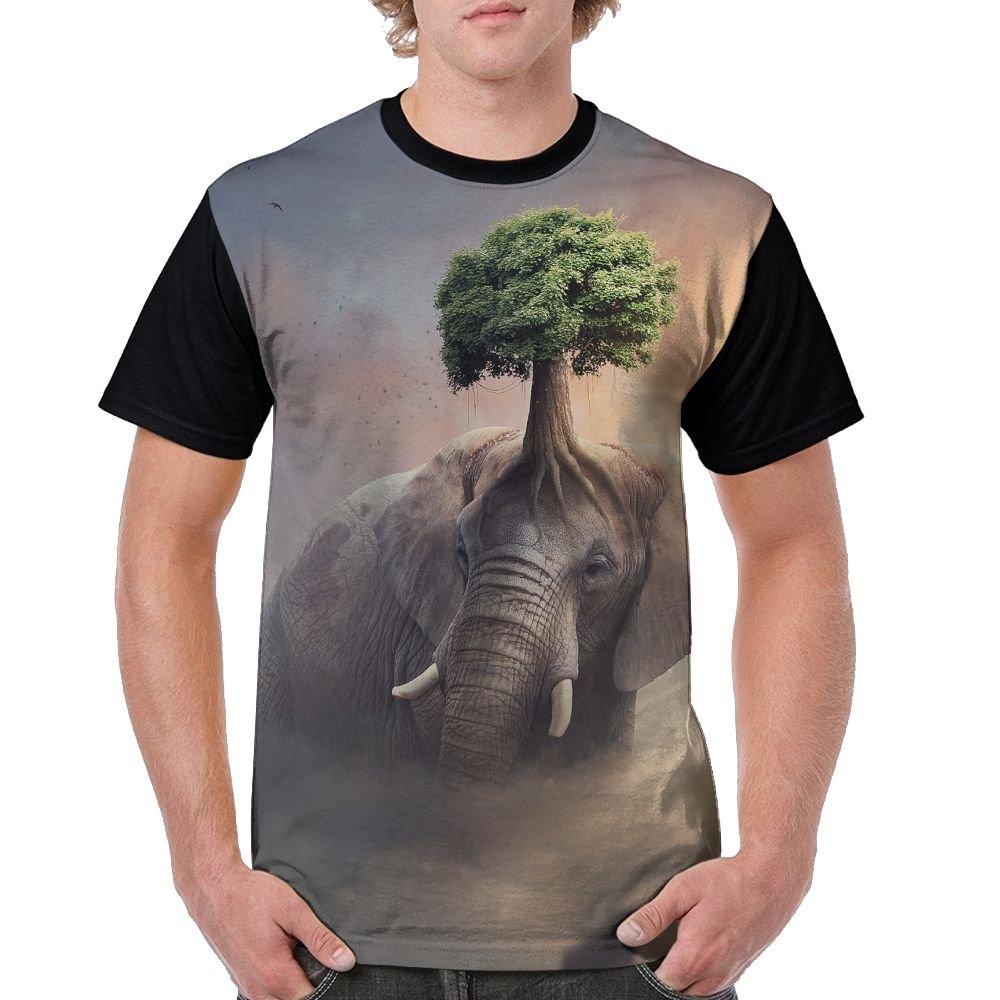 CKS DA WUQ Fantasy Elephant Tree Men's Raglan Short Sleeve Tops T-Shirt Comfort Undershirts Baseball Tees by CKS DA WUQ