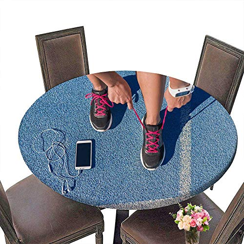 - PINAFORE Modern Table Cloth Runner Woman Tying Running Shoes Laces Getting Ready for Race on Run Track withsm Phone and Indoor or Outdoor Parties 59