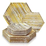 PARTY DISPOSABLE 36 PC DINNERWARE SET | 18 Dinner Plates | 18 Salad or Dessert Plates | Heavy Duty Paper Plates | Hexagon Wood Design | for Upscale Wedding and Dining (Wood Collection - White/Gold)