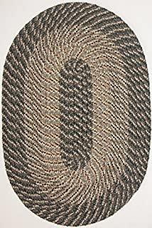 "product image for Constitution Rugs Plymouth 5' 6"" x 8' 6"" (66"" x 102"") Oval Braided Rug in Ponderosa Pine-Medium/Dark Olive Tones"