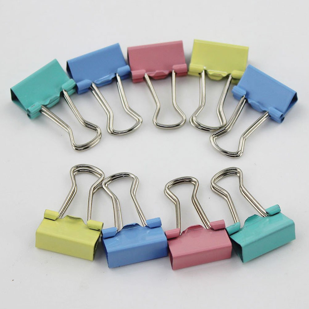 elegantstunning 15MM Colorful Metal Binder Clips Paper Clip Office Stationery Binding Supplies 60PCS/Set