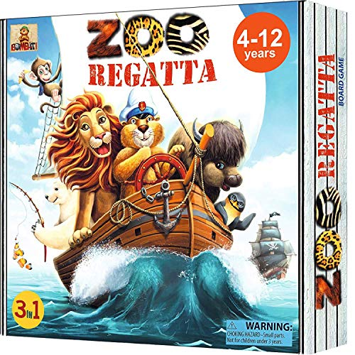 ZOORegatta Family Board Games for Kids Ages 4-12 Years. Award Winning Fun Animal Board Game fro 2-4 Players. Educational Develops Strategic Thinking, Social Skills, Geography (Game Board Herb)