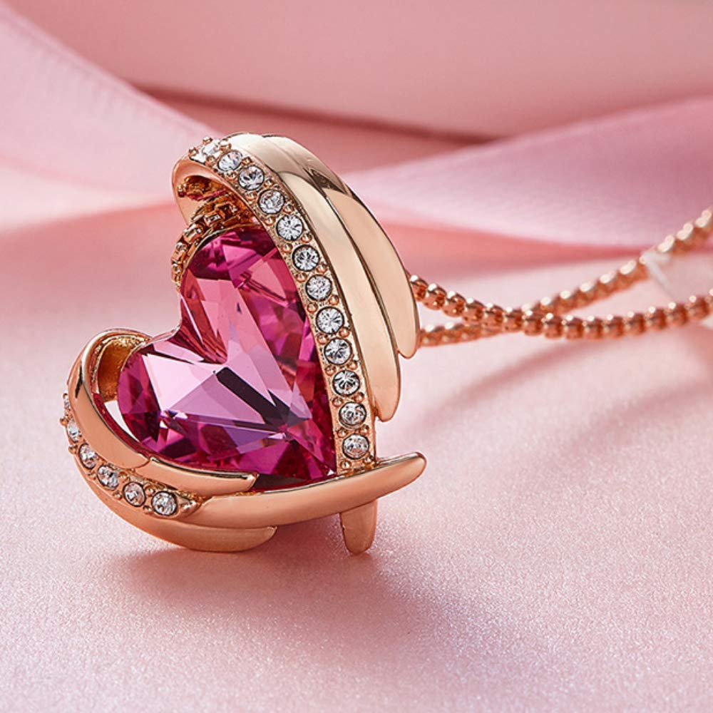 Haiyuan Necklace Necklace Pendant Pink Angel Wings Love Temperament Element Crystal Jewelry Gift