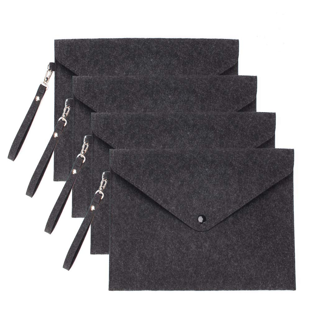 4 Pack A4 Felt File Folders Luxury Durable Briefcase Document Bag with Snap Button (with Lanyard, Black)