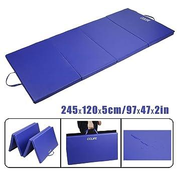 CCLIFE 240x120x5cm Colchoneta Plegable de Gimnasia Mat Colchoneta Yoga Colchoneta Deportiva Yoga estrilla 4 Pliegues