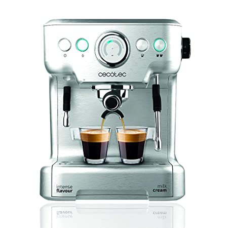 Cecotec Cafetera Express Power Espresso 20 Barista Pro. Thermoblock para Café y Espumar Leche, 20 Bares, Manómetro PressurePro,ModoAuto para 1 y 2 ...