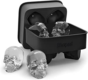 3D Skull Flexible Silicone Ice Cube Mold, Makes Four Giant Skulls, Round Ice Cube Maker (Black)