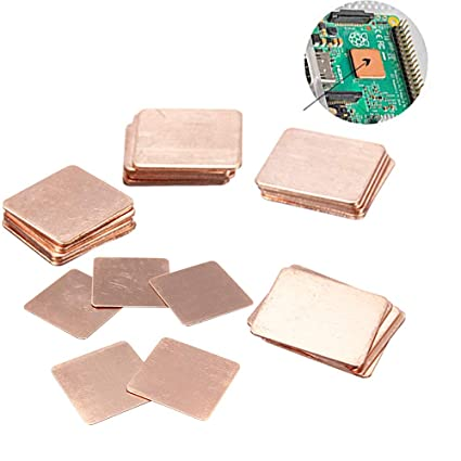 Kalolary IC Chipset GPU CPU Thermal Heatsink Copper Pad Shims 25 Pack  5-Sizes 20x20mm for Cooling Laptop Copper Heatsink