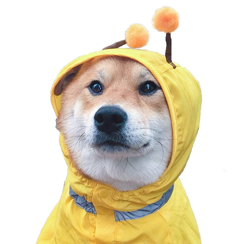 扱いやすいダイヤルピーク犬 レインコート レインポンチョ 犬服 カッパ 小型犬 中型犬 着せやすい 雨の日 お散歩 お出かけ 梅雨対策 フード付き 透明 size M (ホワイト)