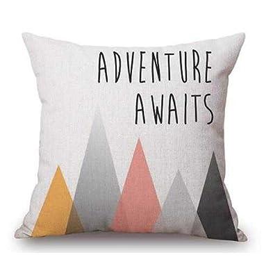 QINU KEONU Elephant Deer Mountains Cotton Linen Throw Pillow Case Cushion Cover Home Sofa Decorative 18 X 18 Inch (14)