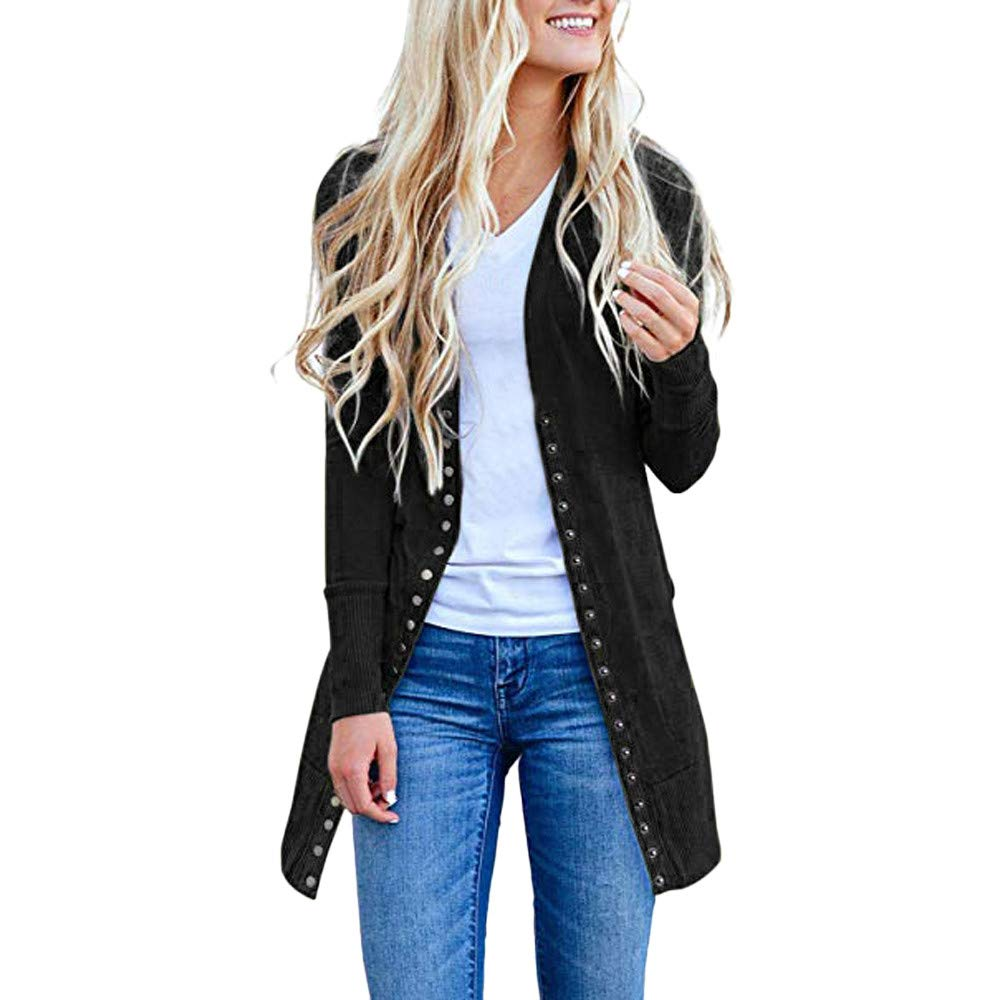 vermers Clearance Womens Casual Button Down Cardigans Sweater Long Sleeve Plus Loose Drape Coat Clothes(US:8/L, Black)