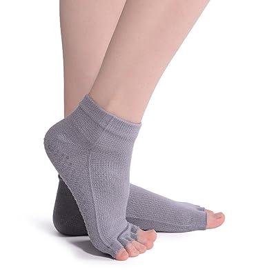 LLmoway Women Yoga Pilates Barre Socks Non Slip Skid Toeless Socks with Grips
