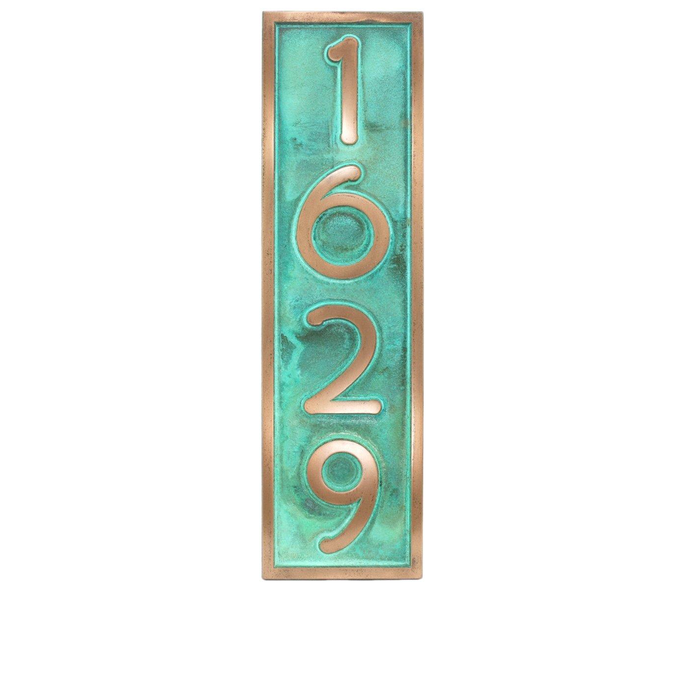 Frank Lloyd Handcrafted Vertical Home Number Plaque 6.5x23 - Raised Bronze Verdi Metal Coated