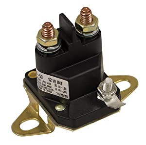 "Stens 435-097 Starter Solenoid, Fits Toro: 300 Series, Grounded Through Base, 3 Pole Style, 12V, Eyelet Size: 1/4""-20"