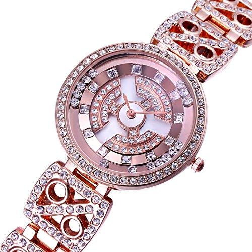 Reloj para las mujeres oro rosa moda y elegante diamante reloj cuarzo joyas pulsera reloj de