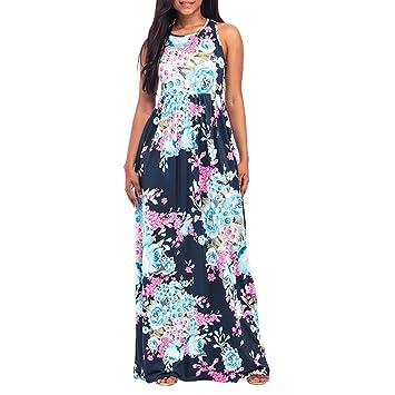 2ab7f58f1 LILICAT Vestidos de Fiesta Mujer, Vestido Maxi de Playa con Estampado  Floral Vestido Largo Sin