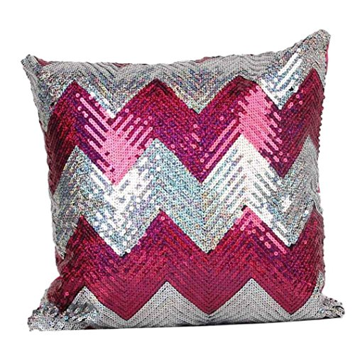 GBSELL Pillow Cover Double Color Glitter Sequins Throw Pillow Case Cafe Home Party Christmas Decor Cushion (Hot Pink)