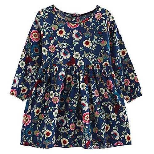 LIAOYLY Summer Baby Kids Dresses Children Girls Long Sleeve Floral Princess Dress Spring -