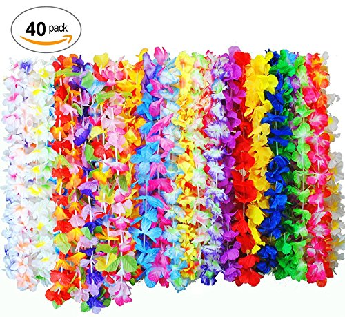 Hawaiian Flower Lei 40-Pieces Bulk Floral Necklace Leis Vibrant Colors Assortment for Luau Party Favors Garland Decorations (Silk Floral Lei)