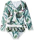 Seafolly Little Girls' L/S Ballet Rash Guard Set Swimsuit, Moss, 3